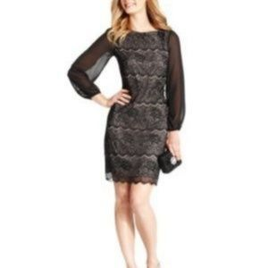 Evan Picone Black Lace & Sheer Shift Dress size 12